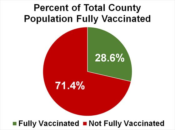 Pie chart of Percent of Total County Population Fully Vaccinated
