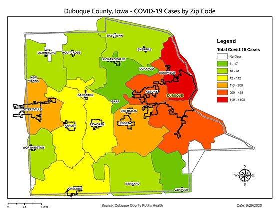 Map of Dubuque County COVID-19 Cases by Zip Code