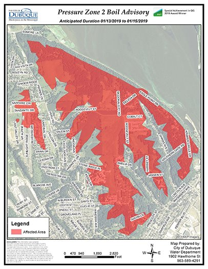 Map of Boil Water Advisory Area