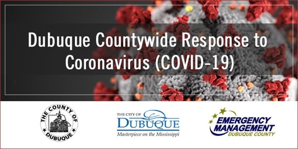 """Dubuque Countywide Response to Coronavirus"" Graphic"