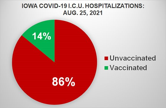 Pie Chart Showing Percentage of Vaccinated vs Unvaccinated Iowans Hospitalized in Intensive Care with COVID