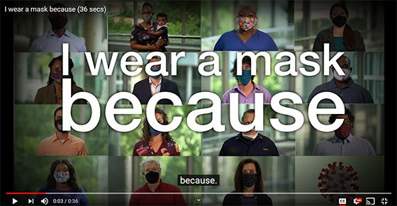 """Screenshot graphic from CDC Video """"I Wear a Mask Because..."""""""