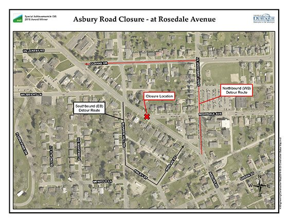 Image of Asbury Road Detour Map
