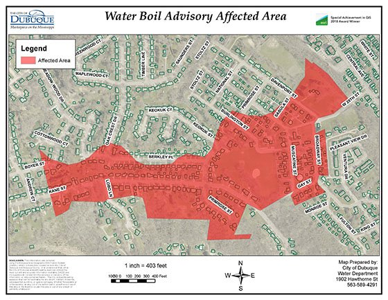Map of boil water advisory area.