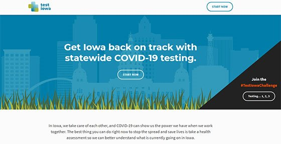 Get Iowa back on track with statewide COVID-19 testing. Visit www.testiowa.com.