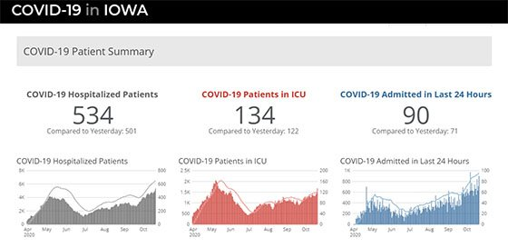 Graphs from the IDPH COVID-19 Patient Summary Dashboard