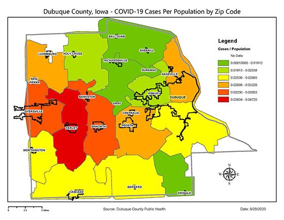 Map of Dubuque County COVID-19 Cases per Population by Zip Code