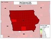 Graphic of New Cases per 100K in Iowa