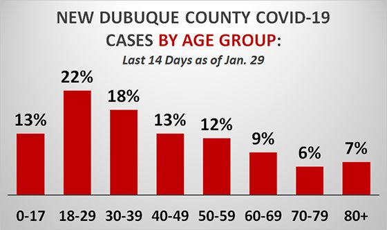 Graph of New Cases of COVID-19 in Dubuque County by Age Group - Last 14 Days