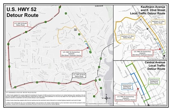 Local Traffic and U.S. HYW 52 Detour Routes