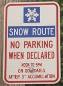 Example of Snow Route Sign
