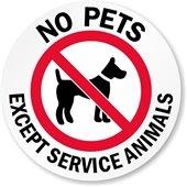 No Pets Except Service Animals