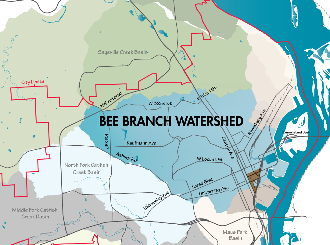 Bee-Branch-WatershedMap