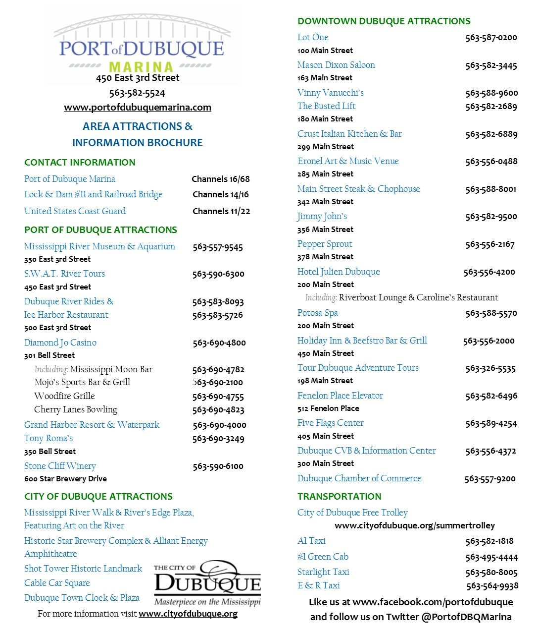 Area Attractions _ Information Flyer