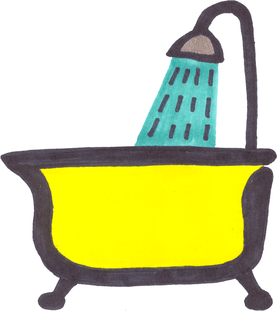 shower-and-yellow-bathtub-clipart