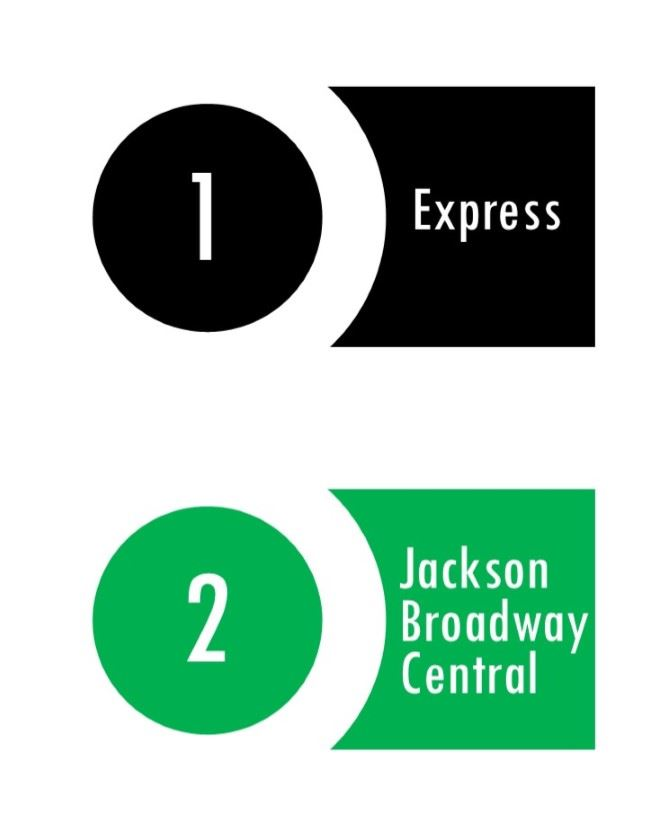1 Express 2 Jackson-Broadway-Central