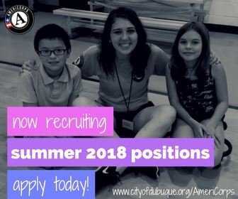 Photo featuring an adult with 2 kids, advertising Summer 2018 AmeriCorps positions