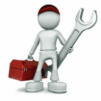 Person with tool box and wrench
