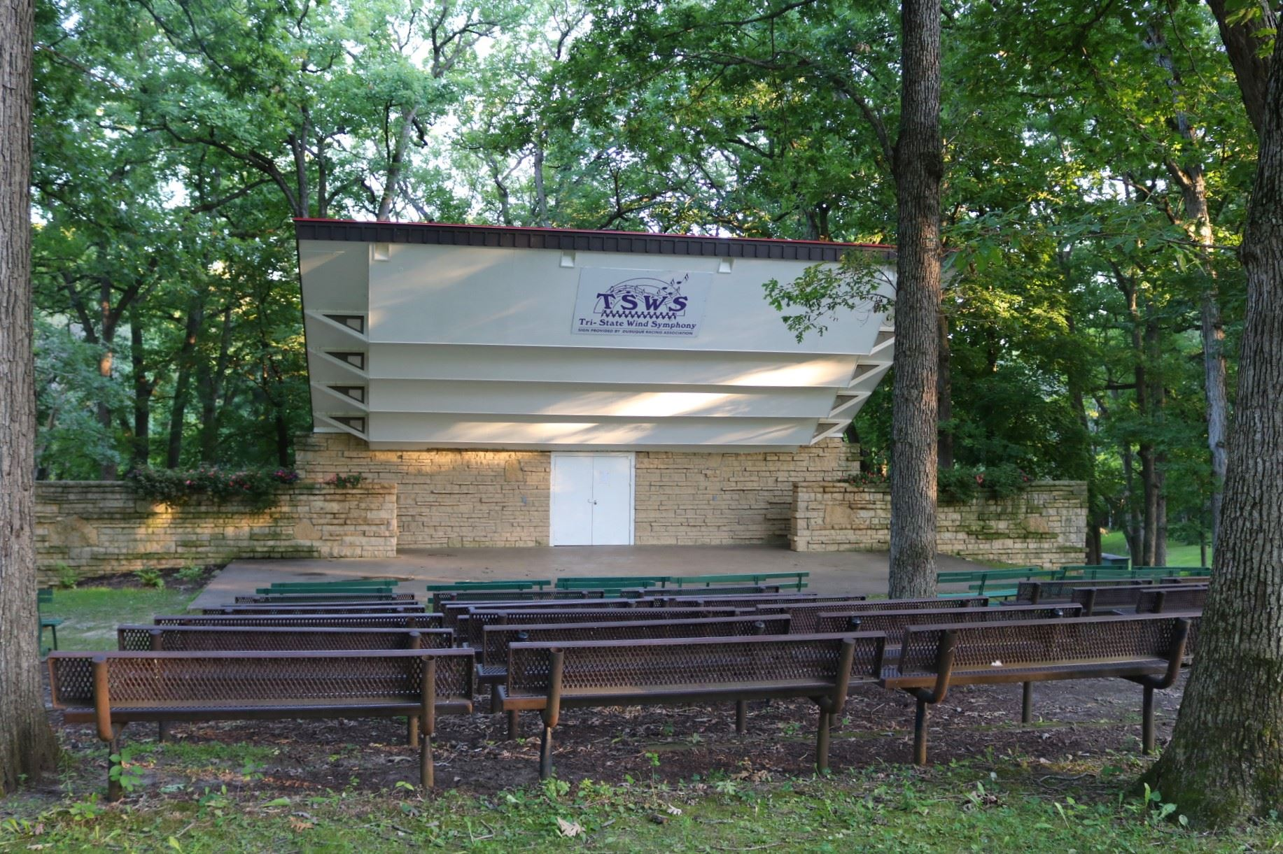 Band Shell seating: 48, 6' benches; Price: $70.00. Amphitheater style seating with a large cement
