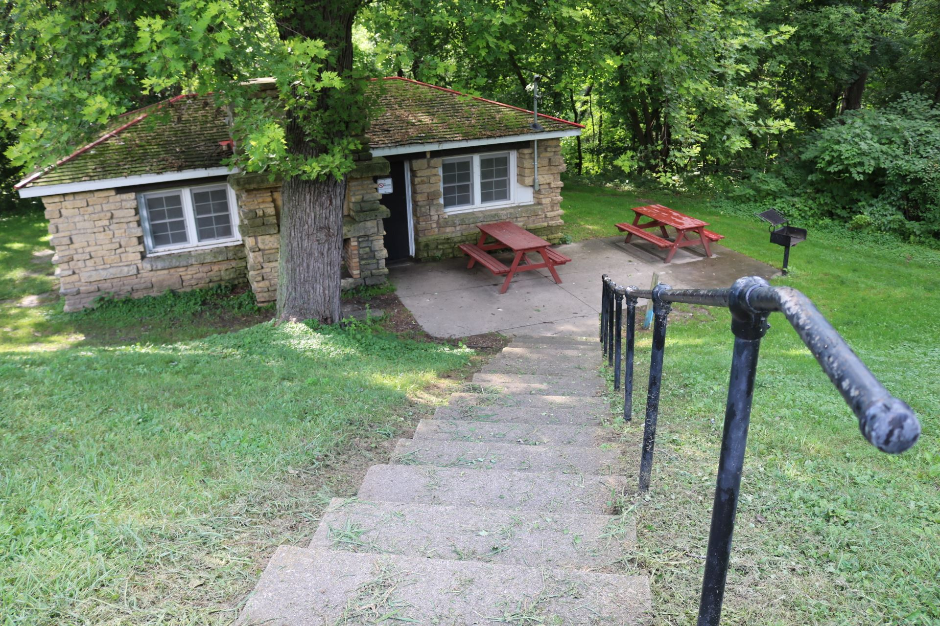 Terrace Room seating: 30 people; price: $35.00. Down large cement steps, 15 amp electricity, picnic
