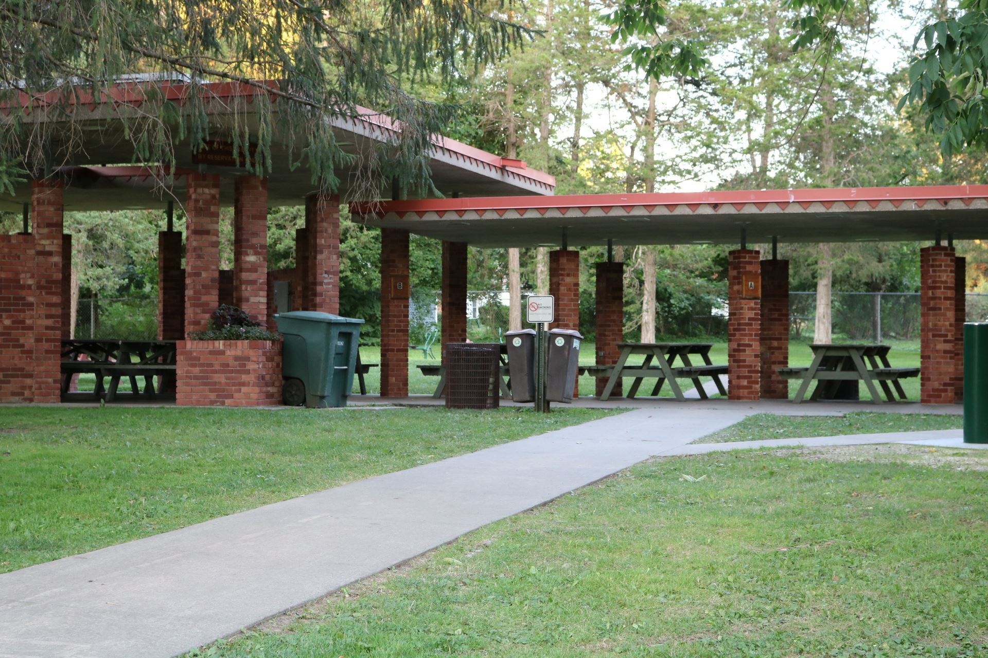 Open Air Pavilion seating: 116 people; price: $115.00. Handicapped accessible, 15 amp electricity, b