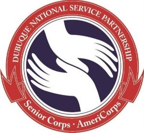 Dubuque National Service Partnership Logo - two hands  representing AmeriCorps and Senior Corps