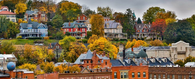 Historic homes overlooking Dubuque