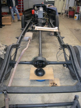 A view of work being done on the frame.
